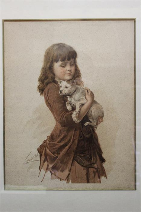 Lot 160 - After W.Ramey - framed print of a girl with a dog.