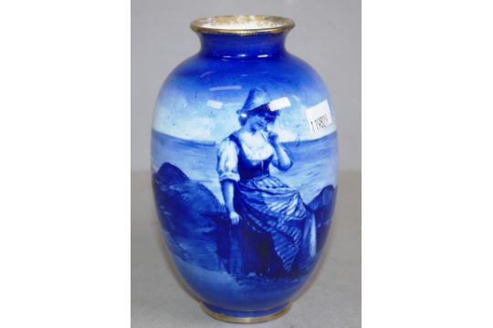 Royal Doulton Blue Children Vase Pattern Lady On A Rock At The