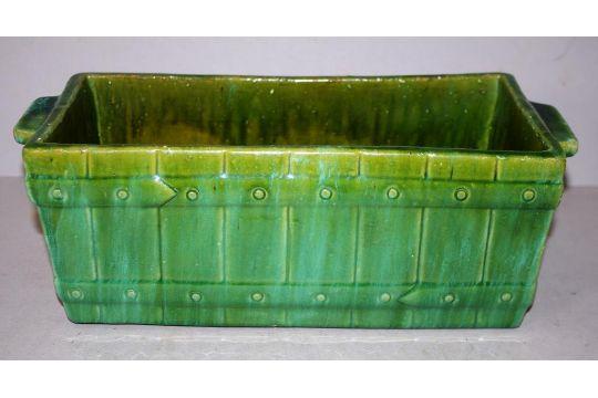 Vintage John Campbell Australian Pottery Vase Trough Vase Green