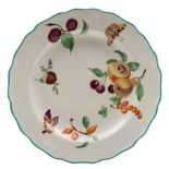 A Derby plate: painted in the workshops of James Giles with fruit and two colourful butterflies,