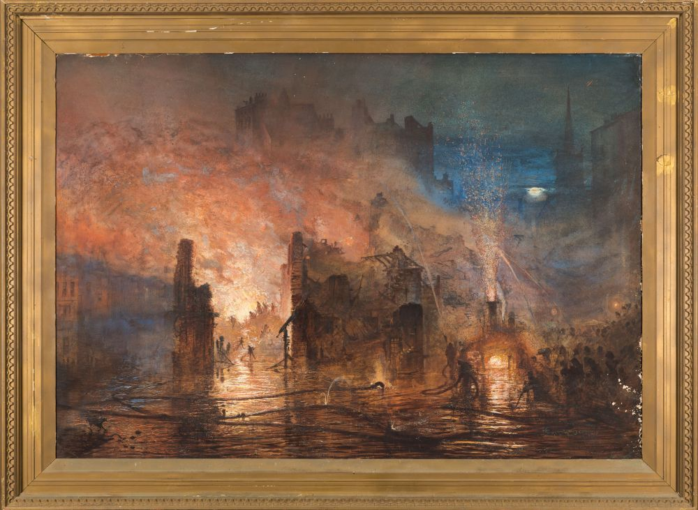 Andrew MacCallum [1821-1902]- The Fire at Clerkenwell,:- signed,