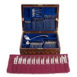 A George V silver Old English pattern flatware service, maker George Jackson & David Fullerton,