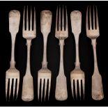 Six George III Irish silver fiddle pattern table forks, maker William Ward,