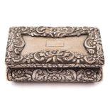 A William IV silver snuff box, maker Nathaniel Mills, Birmingham, 1832: of rectangular outline,