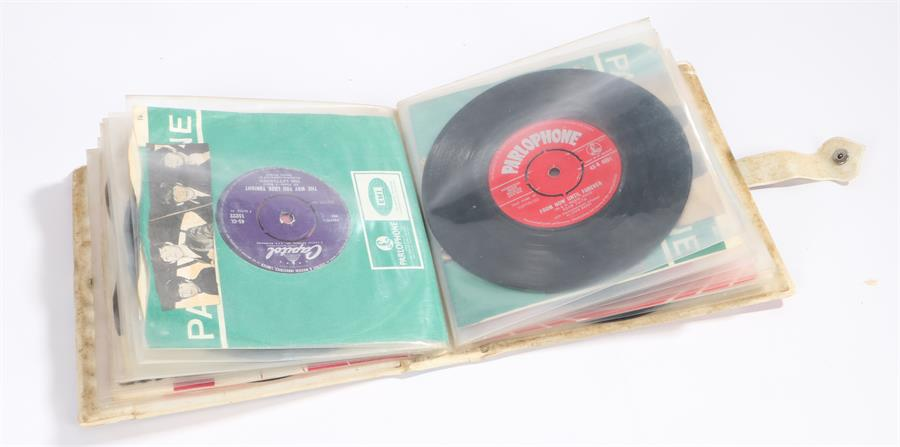 """Lot 53 - 1960s 7"""" Alpha Record Album Case containing approx 20 singles to include The Beatles - Twist And"""