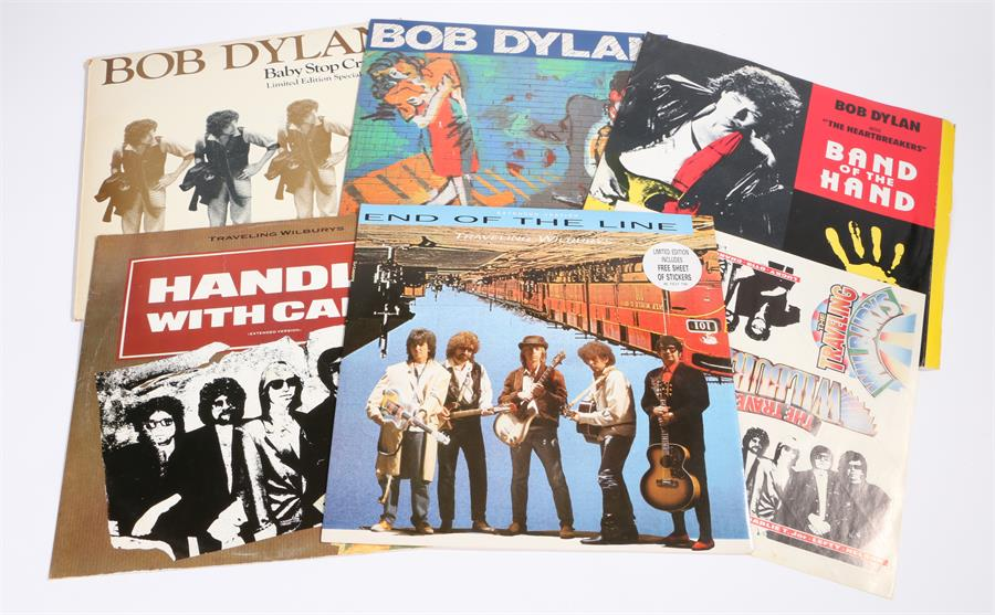 "Lot 20 - 5 x Bob Dylan/Traveling Wilburys 12"" singles. Everything Is Broken CBS 655358 6. Baby Stop Crying,"