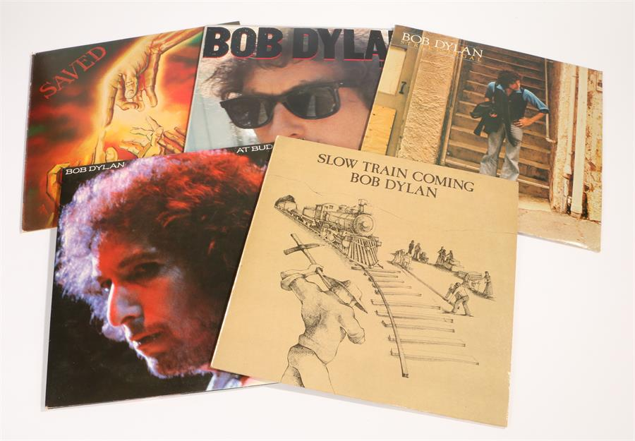 Lot 40 - 5 x Bob Dylan LPs. At Budokan CBS/Sony 40AP 1100 1, 2 x LP, gatefold sleeve with poster & booklet.