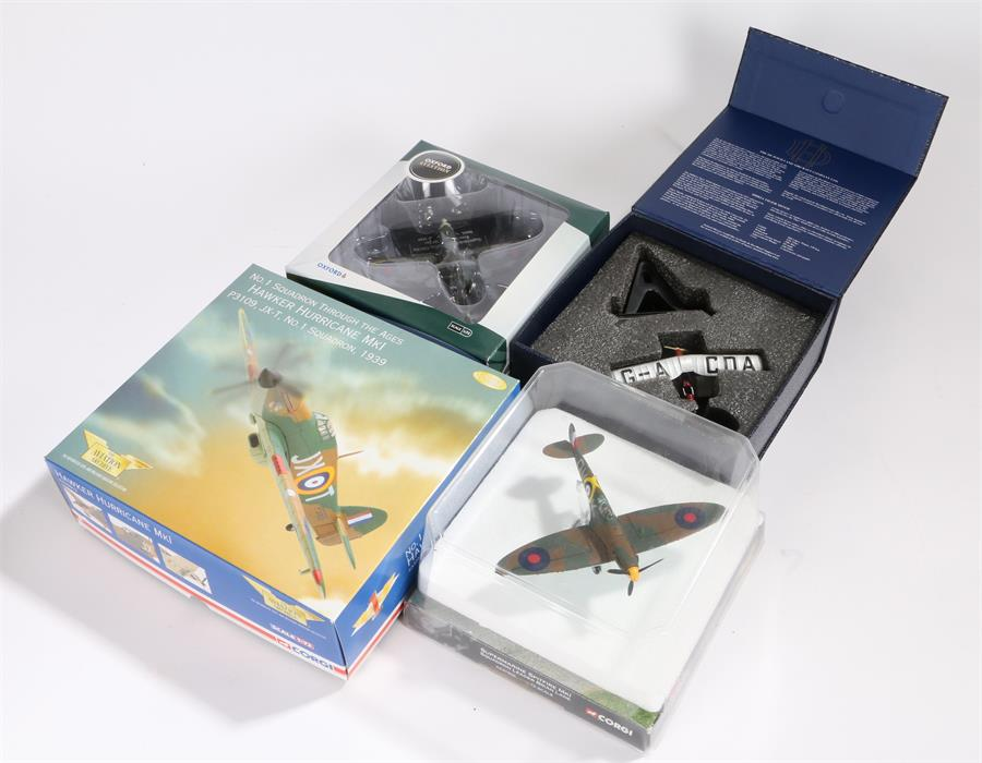 Lot 43 - Two 1/72 scale Corgi Aviation Archive die-cast model fighter planes comprising of Hawker Hurricane