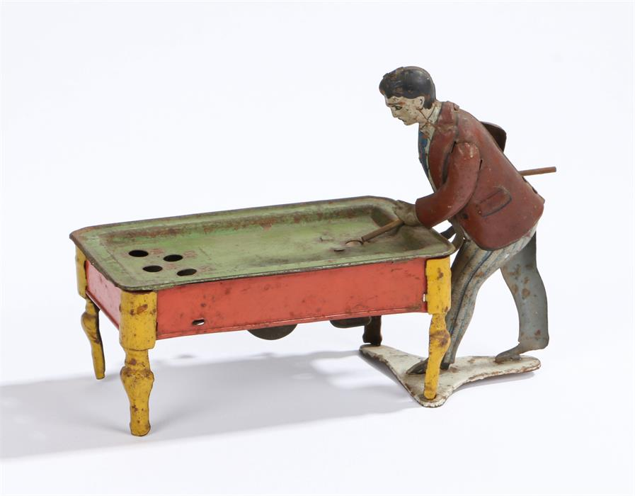 Lot 8A - Kico tin plate clockwork billiard player, by Hubert Kienberger, Germany, 15.5cm wide , height 11.5cm