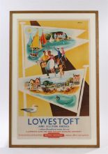 "Lot 525 - Railway poster, ""Lowestoft and Oulton Broad, where Broadland meets the sea"", the poster with two"