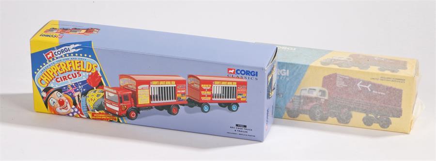 Lot 58 - Corgi Classics 97889 Chipperfields Circus AEC cage truck & trailer, Corgi 18401 British Rail Bedford