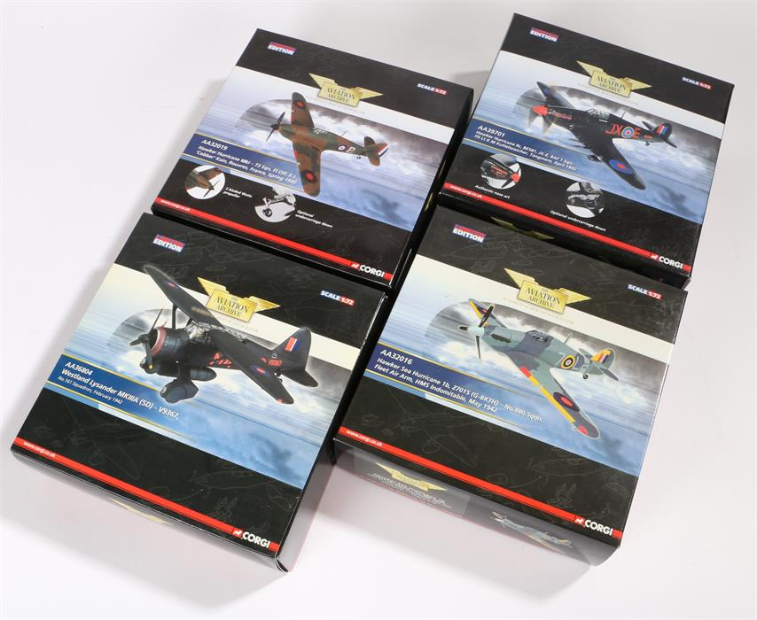 Lot 44 - Four 1/72 scale Corgi Aviation Archive die-cast model fighter planes comprising of Hawker Sea
