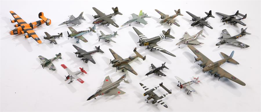 Lot 45 - A collection of model aircraft, mainly 1/72 scale World War Two including Me 262, Typhoon,