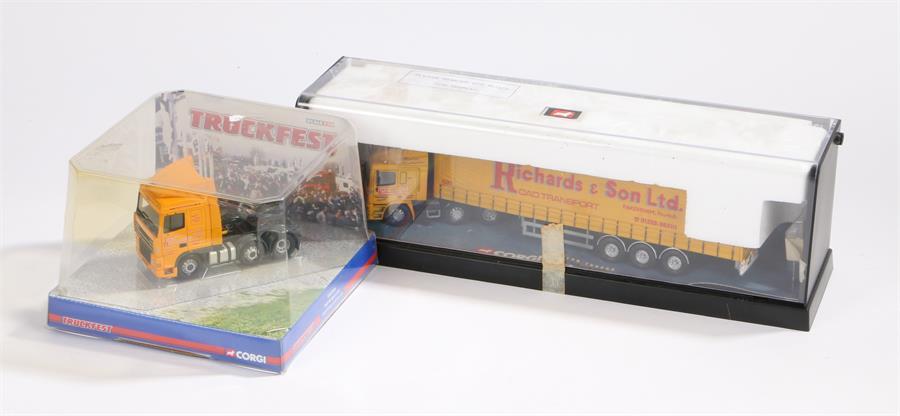 Lot 50 - Corgi Modern Trucks 75204 ERF curtainside, Jack Richards and Son ltd, Corgi Truckfest CC13218 DAF XF