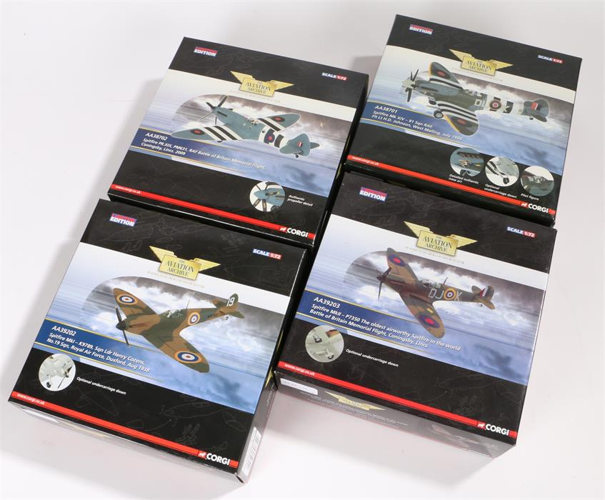 Lot 47 - Four 1/72 scale Corgi Aviation Archive die-cast model fighter planes comprising of Spitfire Mk I-
