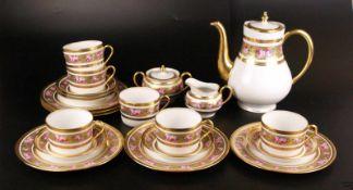 Kaffeeservice - Haviland Limoges, für 6 Personen, üppiger Dekor mit breiten Goldborten sowie