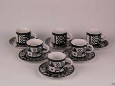 """Sechs Espressotassen mit Untertassen - Hoechst, Boden gemarkt und bezeichnet """"Höchst Decor"""","""