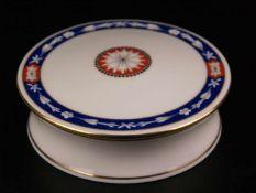 Deckeldose - Hoechst, blaue Radmarke, rund, Louis-XVI-Dekor aus umlaufendem, königsblauem Band mit