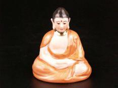 """Porzellanfigur """"Buddha"""" - Hoechst, blaue Radmarke, vollplastische Darstellung im Meditationssitz,"""