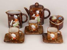 Porzellan-Kinderservice - Unterseite mit Trockenstempel mit Blatt und Krone, 6-tlg., braun