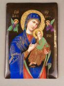 Ikone Gottesmutter Hodegetria - Russland, 20.Jh., Porzellanplatte, polychrome Emailmalerei und