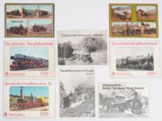 Acht Mappen mit Fotos von Dampflokomotiven