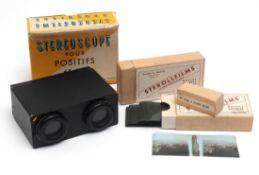 Stereoskop, Frankreich Für Positive. Mit zwei Sterollfilmen. 12x9x5cm.
