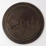 Prägestempel, 19.Jhdt. Hirsch und Hirschkuh in Waldlandschaft. Bronze. Durchm.6,3cm.