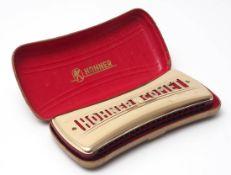 Mundharmonika, Hohner Comet Im Originaletui. L.16cm.