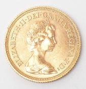 """Goldmünze, """"Sovereign"""", England 1974 Gew. ca. 7,9g."""