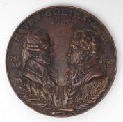 Medaille Portraits von Joseph Haydn und Johann Wolfgang von Goethe, dat. 1932. Bronze, Durchm.5cm.