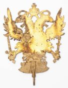 Doppeladler, wohl 18.Jhdt. Metall, vergoldet. H.18,5cm. Altersspuren. Vermutlich handelt es sich