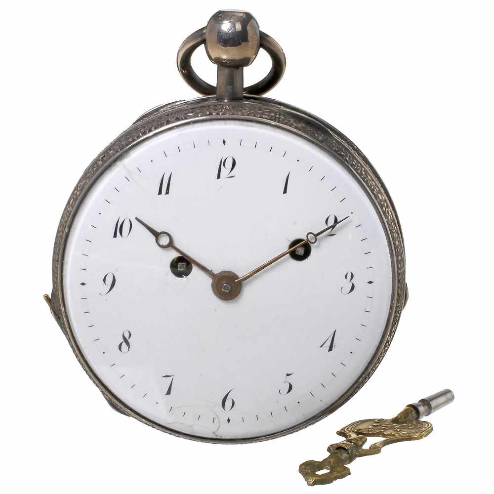 Lot 1 - Early Musical Silver Pocket Watch by Le Roy, c. 1815Paris. No. 4465, with 2 1/8 in. (5,4 cm)