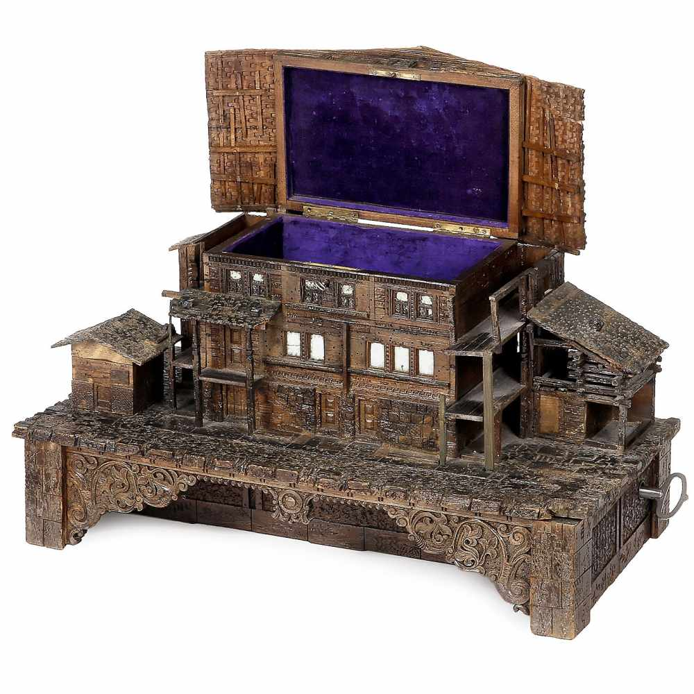 Lot 4 - Large Chalet Musical Box, c. 1880No. 13088, carved walnut case depicting a traditional four-