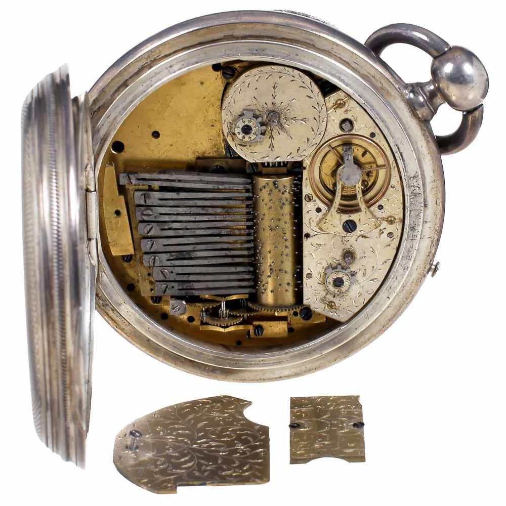 Lot 42 - Rare Musical Pocket Watch with Cylinder Movement, c. 1815With 2-inch (5 cm) enameled Arabic dial,
