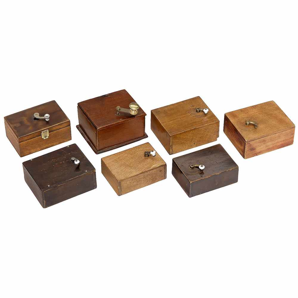 Lot 49 - 7 Manivelle Musical BoxesHand-turned movements in rectangular wood cases, mixed condition, not