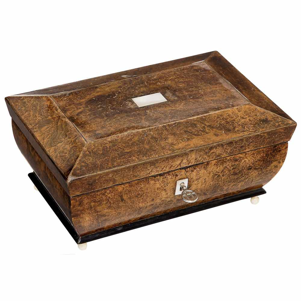 Lot 7 - Early Musical Sewing Necessaire, c. 1830No. 147, with recessed tray containing steel, mother-of-
