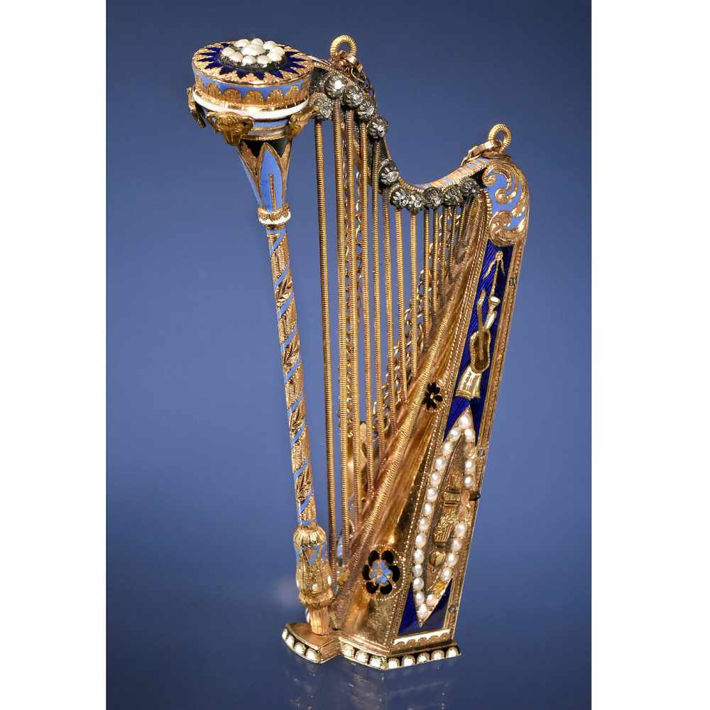 Lot 45 - Exceptional 18-Carat Gold and Enamel Musical Harp Pendant, c. 1805Bessière & Schneider (?), of