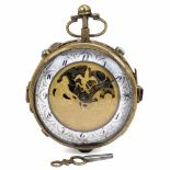 Lot 48 - Austrian Musical Pocket Watch, c. 1820No. 233, with 2-inch (5 cm) enameled annular Arabic dial