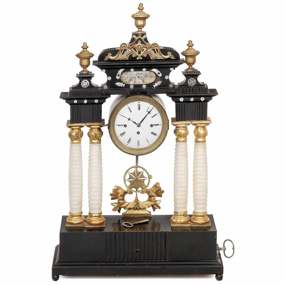 Lot 24 - Austrian Musical Clock with Rzebitschek Movement, c. 1845With enameled Roman dial, 4 3/4 in. (12