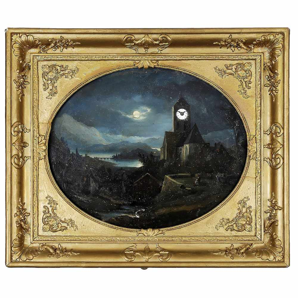 Lot 5 - Musical Picture Clock, c. 1850Oil on metal, view of a church in moonlit river valley, with single-
