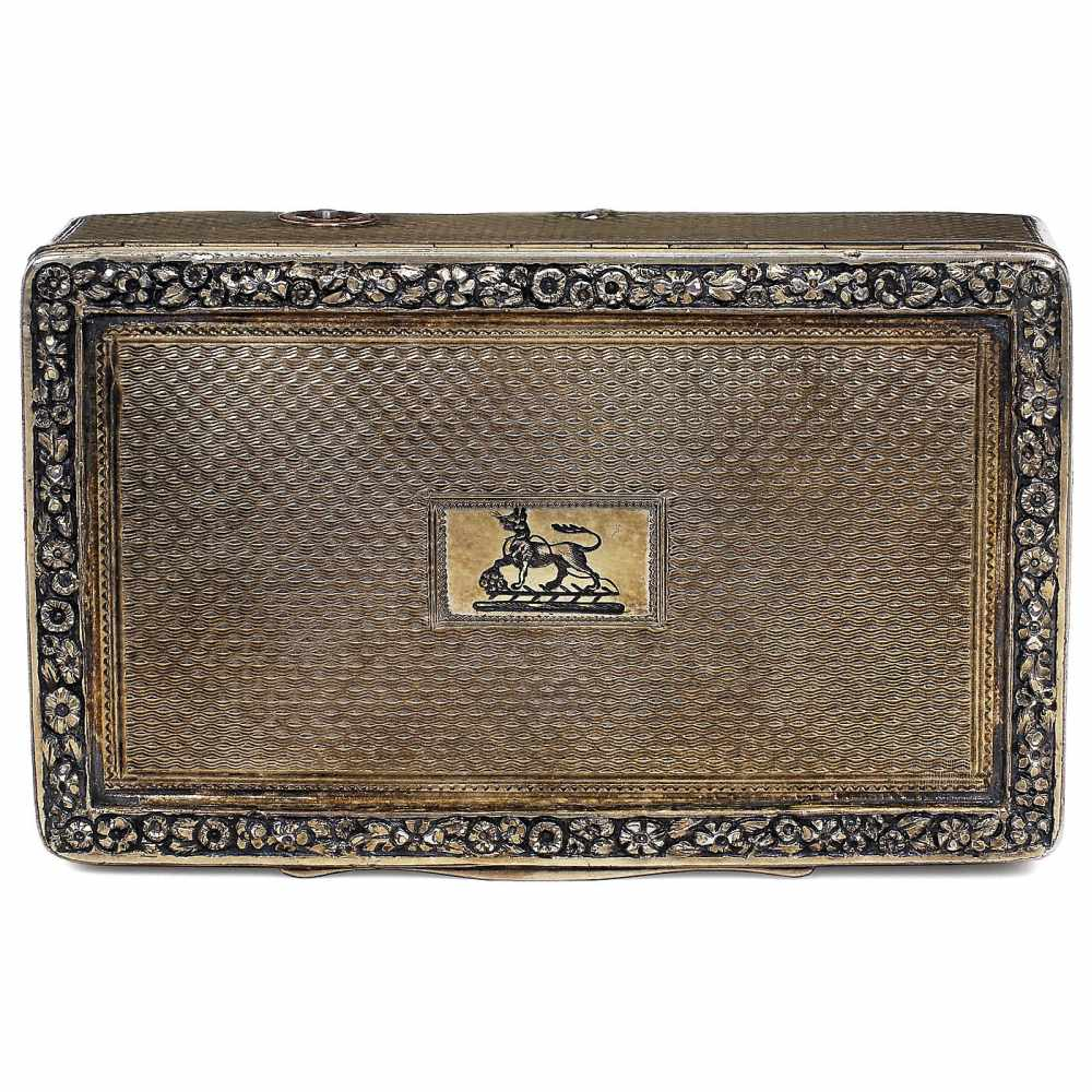 Lot 50 - Early Silver-Gilt Musical Snuff Box, c. 1817Playing two airs, with sectional comb in 25 groups of