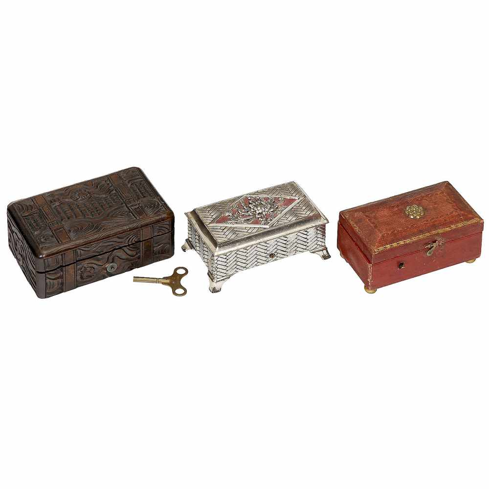 """Lot 17 - 3 Tabatière Musical Boxes in Unusual Cases, c. 1890-19201) No. M52245, stamped """"J.G.M. & Co."""","""