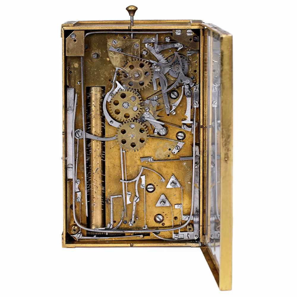 Lot 30 - Fine Musical Carriage Clock, c. 1820With silvered Roman dial, phases of the moon indicator and
