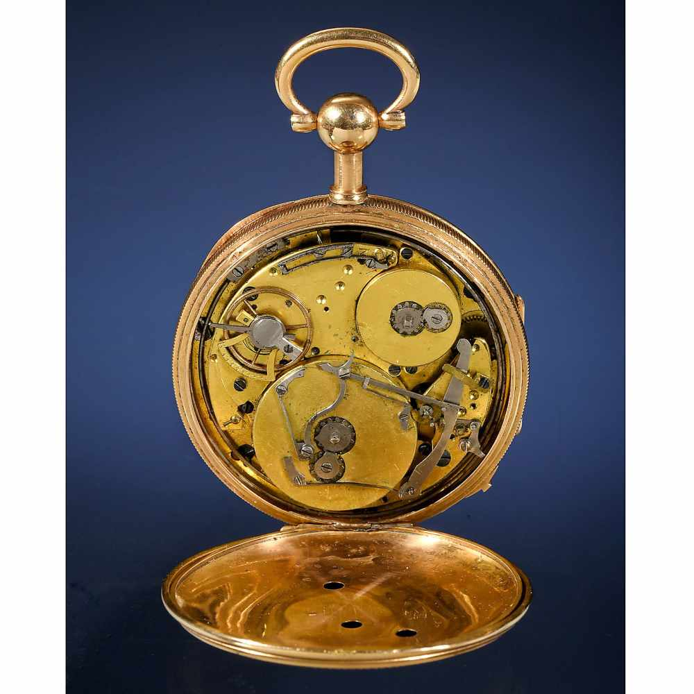 Lot 38 - 18-Carat Gold Musical Sur-Plateau Pocket Watch, c. 1815With 2-inch (5 cm) enameled Arabic dial,