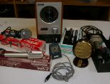 Lot 365 - Assorted vintage music and film items, to include a 1950's Grundig condenser and other vintage