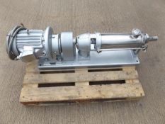 Mono progressive cavity pump model K63. All stainless steel contact parts for hygienic applications.