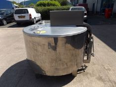 600L Jacketed Vessel. Stainless Steel jacketed blending vessel with hinged lid, two infeed ports,