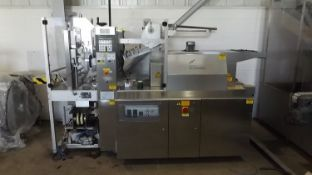 Pester PEWO-pack 450 SN stretch banding machine with shrink tunnel unit. Adjustable for various