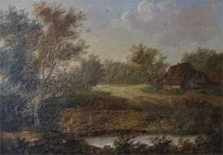 A Framed oil on canvas of a landscape scene with woods, cottage and a small pond, signed and dated